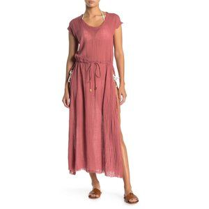 NWT Benette Side Slit Maxi Cotton Cover Up O/S